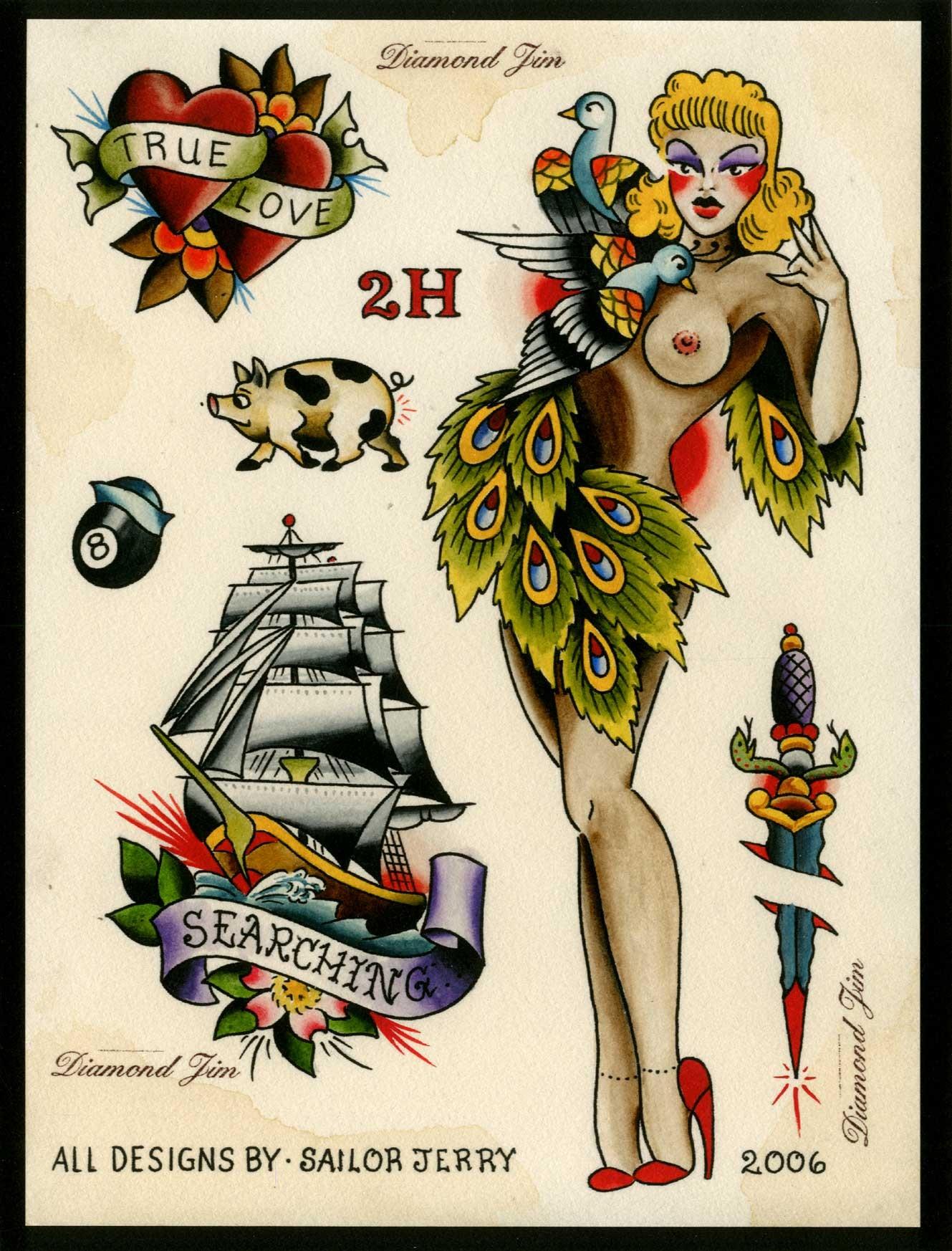 Sailor Jerry Print Set Traditional Prints Gentlemans Tattoo Flash