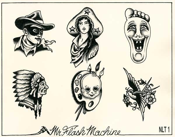 mr flash machine trad flash gentlemans tattoo flash